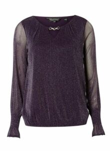 Womens **Billie & Blossom Purple Glitter Trim Blouse- Purple, Purple