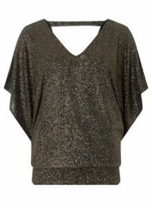 Womens **Billie & Blossom Tall Gold Batwing Top- Gold, Gold