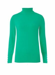 Womens Bright Green Roll Neck Jumper- Green, Green
