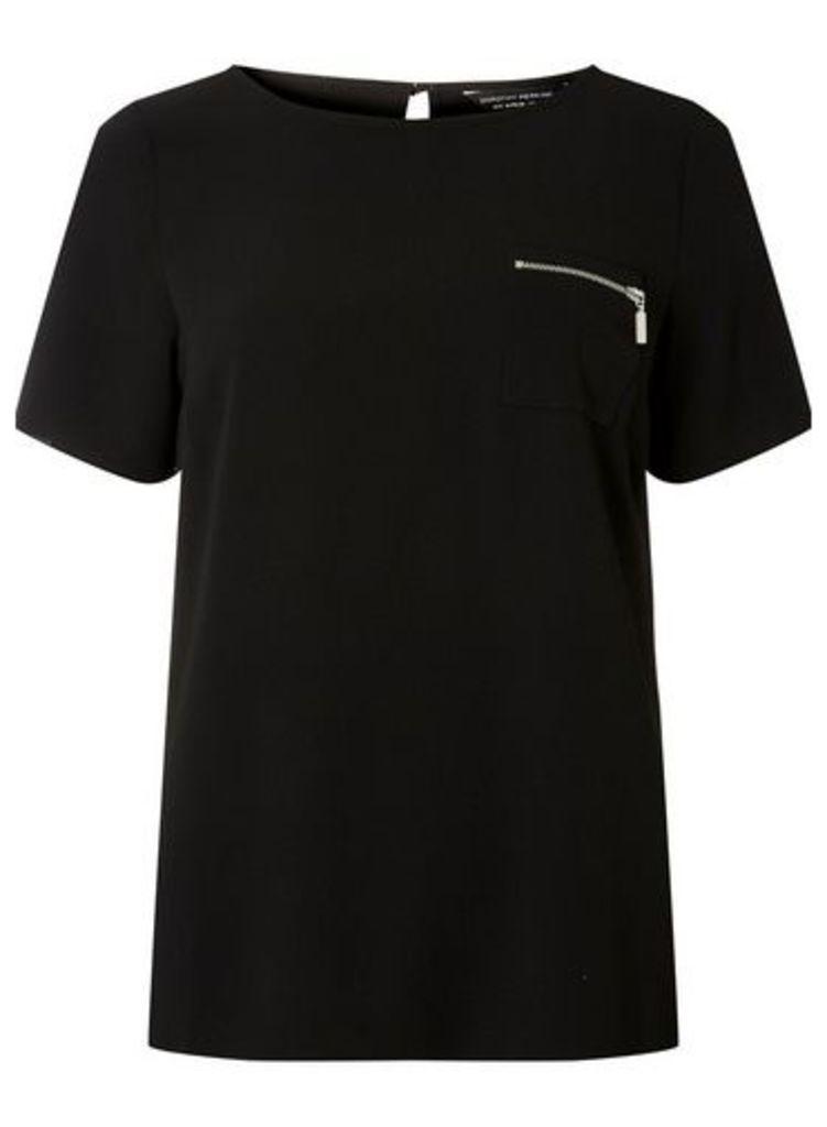 Womens Black Zip Pocket T-Shirt- Black, Black