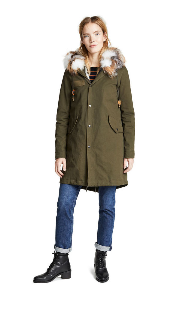 Adrienne Landau Canvas Parka with Rabbit Fur Liner