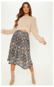 Black Printed Pleated Midi Skirt, Black