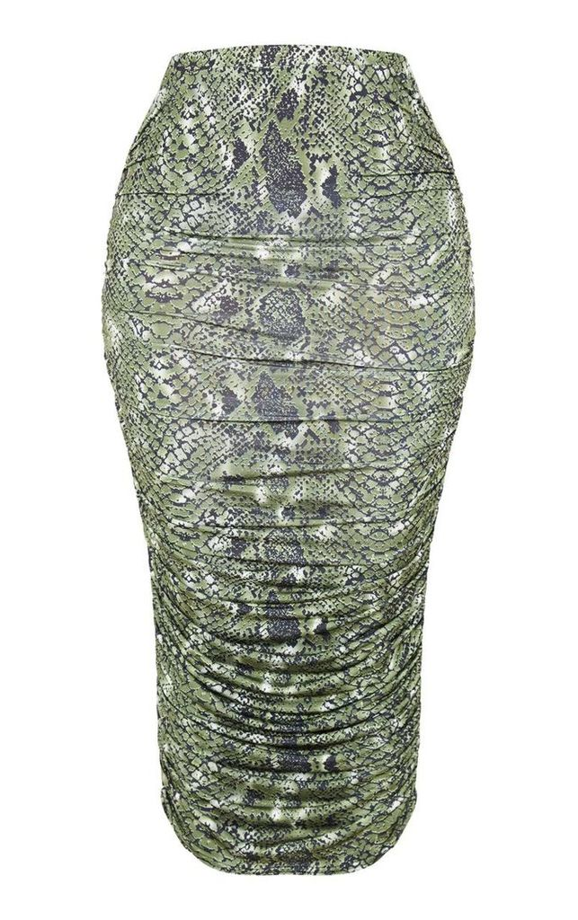 Shape Green Snake Print Ruched Midi Skirt, Green