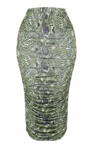 Shape Green Snake Print Ruched Midi Skirt, Green