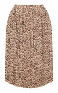 Plus Taupe Snake Print Pleated Midi Skirt, Brown