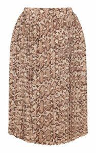 Plus Taupe Snake Print Pleated Midi Skirt, Brown