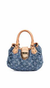 What Goes Around Comes Around Lv Blue Denim Pleaty Handbag