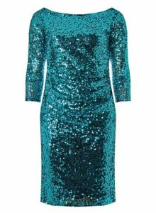 Womens **Billie & Blossom Teal Sequin Bodycon Dress- Teal, Teal