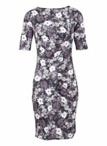 Womens *Black Floral Bodycon Dress- Black, Black
