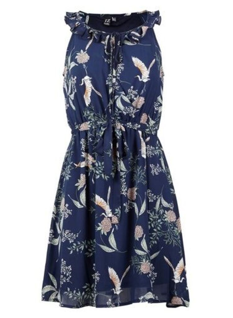 Womens *Izabel London Navy Floral Waist Dress- Navy, Navy
