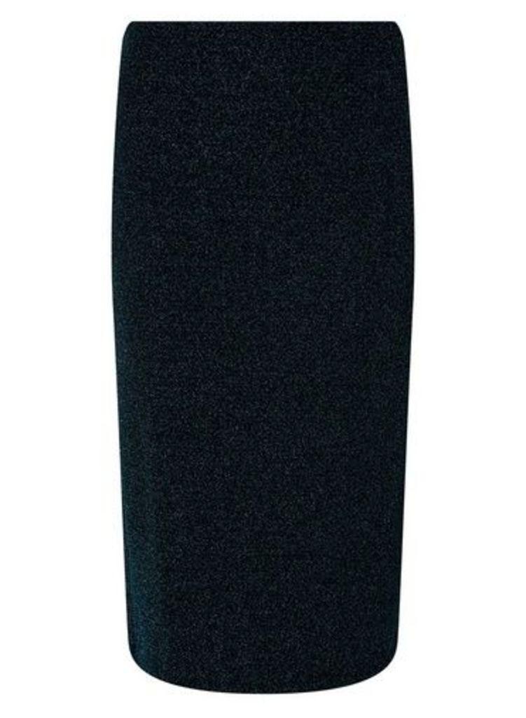 Womens Teal Glitter Pencil Skirt- Blue, Blue