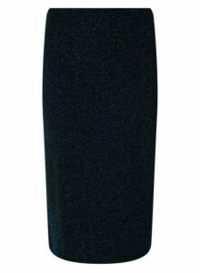 Womens Teal Glitter Pencil Skirt- Blue, Blue