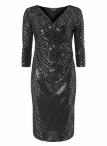 Womens **Billie & Blossom Black Mirror Bodycon Dress- Silver, Silver