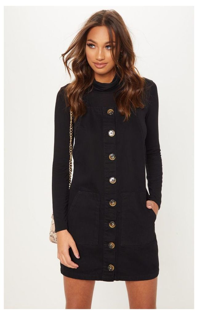 Button Through Black Denim Dress, Black
