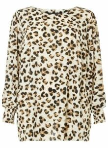Womens **Dp Curve Multi Colour Leopard Print Long Sleeve Shirred Soft Top- Brown, Brown