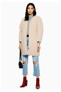 Womens Zip Borg Coat - Nude, Nude