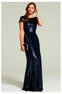 Womens HotSquash Navy Cowl Back Sequinned Fishtail Maxi Dress -  Blue