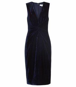 Reiss Mosaic Velvet - Twist Front Dress in Midnight Navy, Womens, Size 16