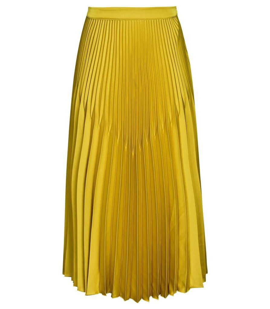 Reiss Isidora - Knife Pleat Midi Skirt in Gold, Womens, Size 14