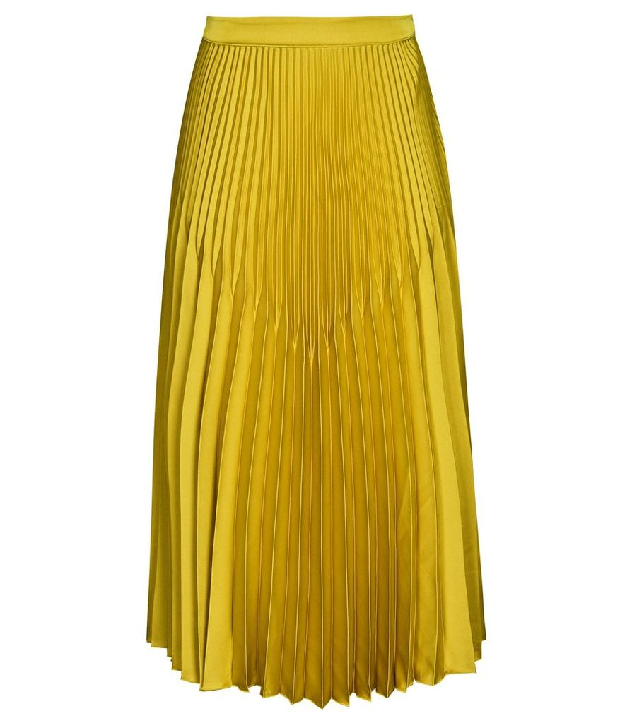 Reiss Isidora - Knife Pleat Midi Skirt in Gold, Womens, Size 14