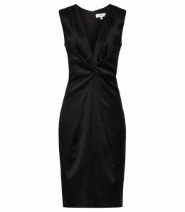 Reiss Mosaic - Twist Front Dress in Black, Womens, Size 16