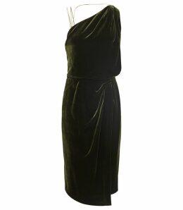 Reiss Una - Velvet Strappy Back Cocktail Dress in Dark Green, Womens, Size 16