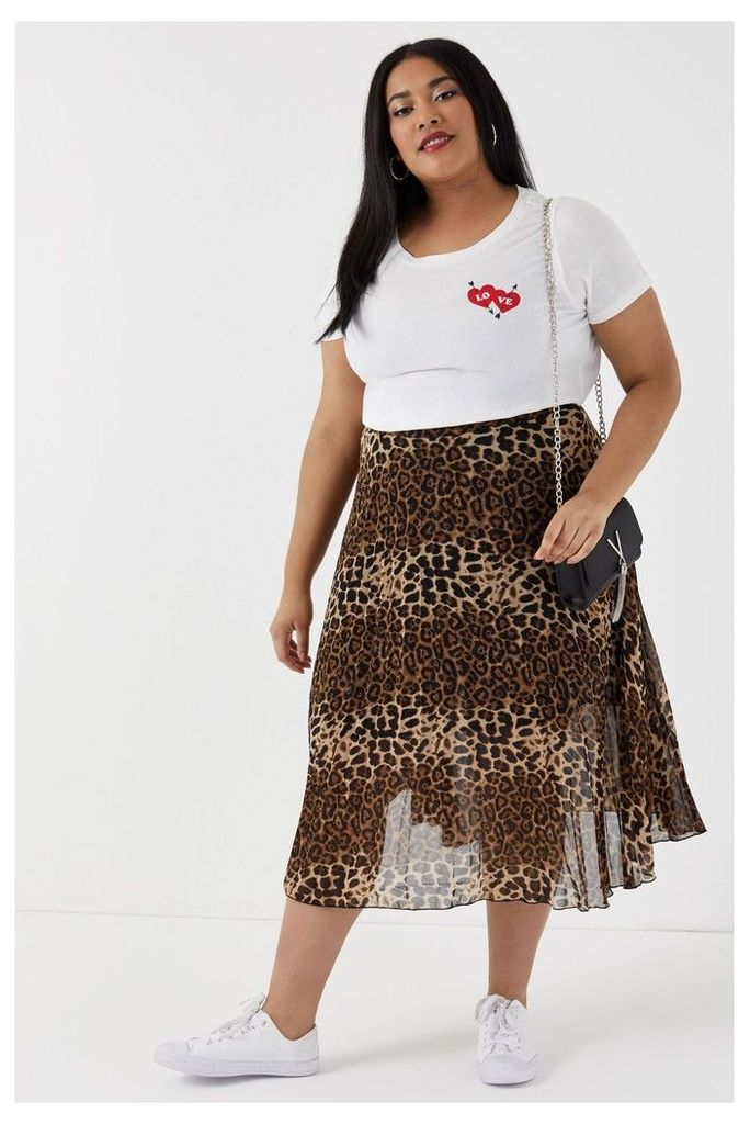 Womens Glamorous Curve Animal Print High Waist Skirt -  Black