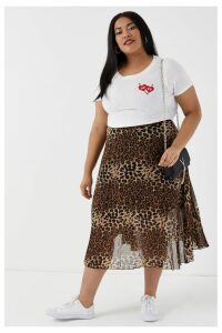 Womens Glamorous Curve Animal Print High Waist Skirt -  Black