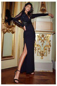 Lipsy Long Sleeve Sequin Plunge Maxi Dress - 16 - Black