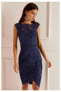 Lipsy VIP Lace Asymmetric Hem Midi Dress - 6 - Blue