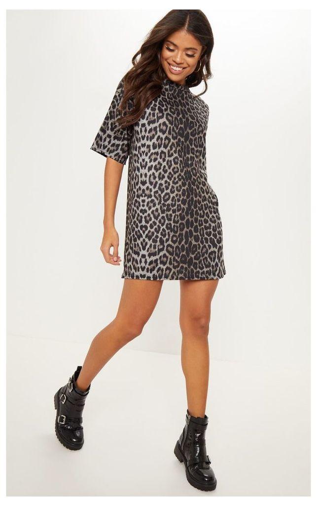 Leopard Print Oversized T Shirt Dress, Animal