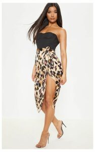 Leopard Printed Wrap Around Midi Skirt, Multi