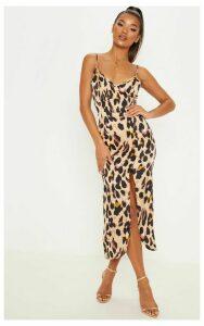 Tan Leopard Print Satin Midi Slip Dress, Brown