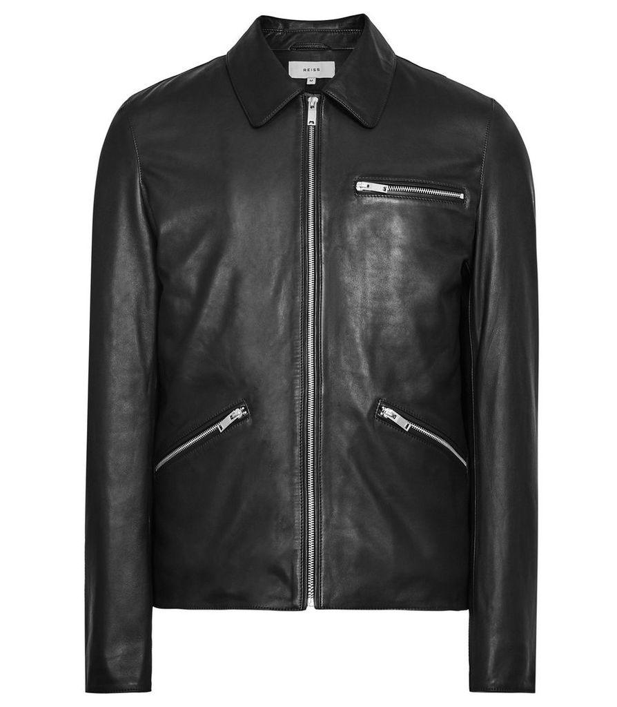 Reiss Williams - Internally Wadded Leather Jacket in Black, Mens, Size XXL