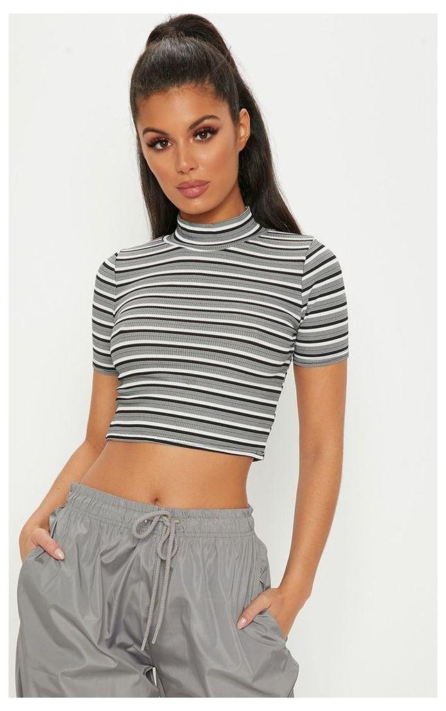 Mono Stripe Crop High Neck Top, Black