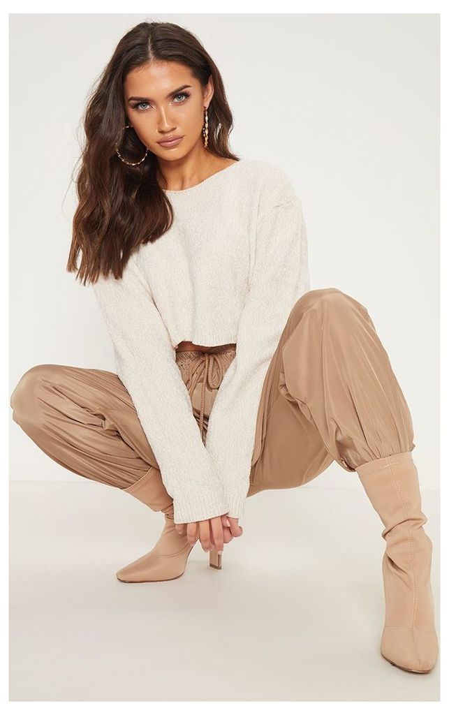 Cream Chenille Cropped Knitted Jumper, White