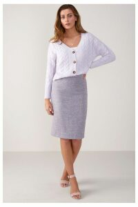 Womens Pure Collection Lilac Texture Wool Pencil Skirt -  Purple