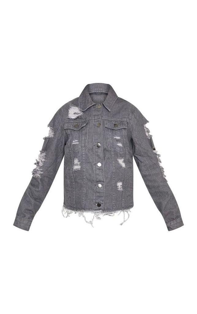 Petite Charcoal Distressed Denim Jacket, Charcoal Grey