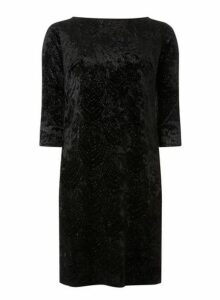 Womens **Billie & Blossom Black Velvet Shift Dress- Black, Black