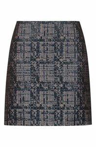 Slim-fit mini skirt in tweed with metallised accents