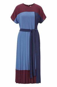 Pleated colour-block midi dress in crepe