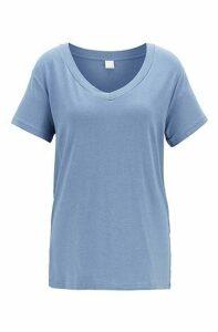 Oversized-fit melange T-shirt with V neckline