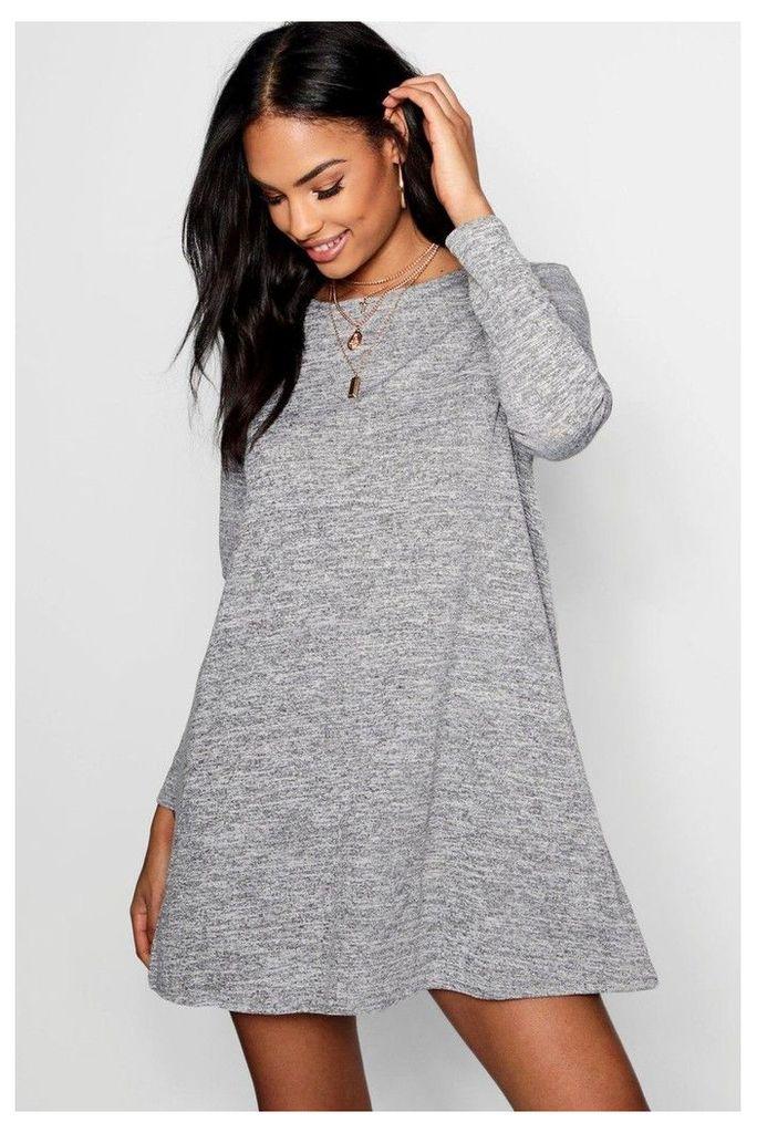 Womens Boohoo Knitted Swing Dress -  Grey