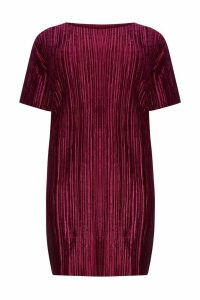 Womens Boohoo Curve Plisse Velvet Shift Dress -  Red