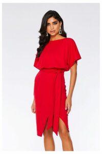 Womens Quiz Tie Belt Midi Dress -  Red