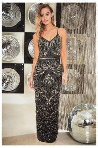 Womens Sistaglam Full Beaded Maxi Dress -  Black