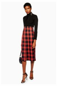 Womens Check Pencil Midi Skirt - Multi, Multi