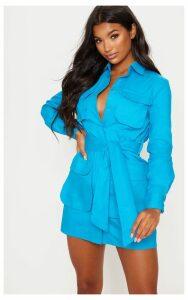 Blue Utility Tie Waist Shirt Dress, Blue