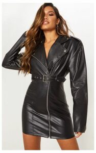 Black Faux Leather Biker Bodycon Dress, Black