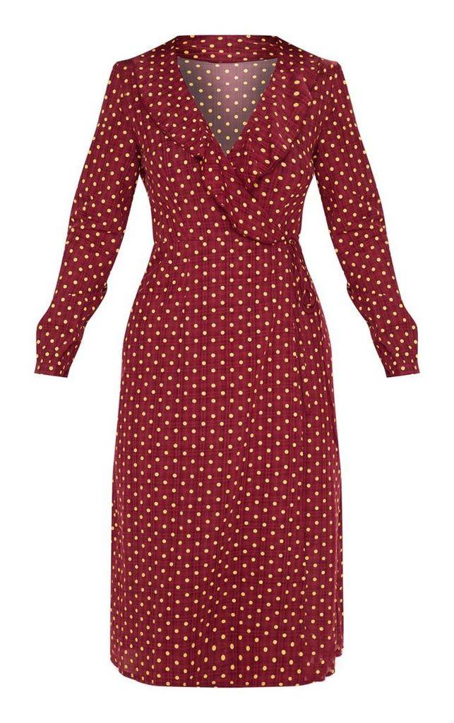 Burgundy Polka Dot Check Wrap Midi Dress, Red